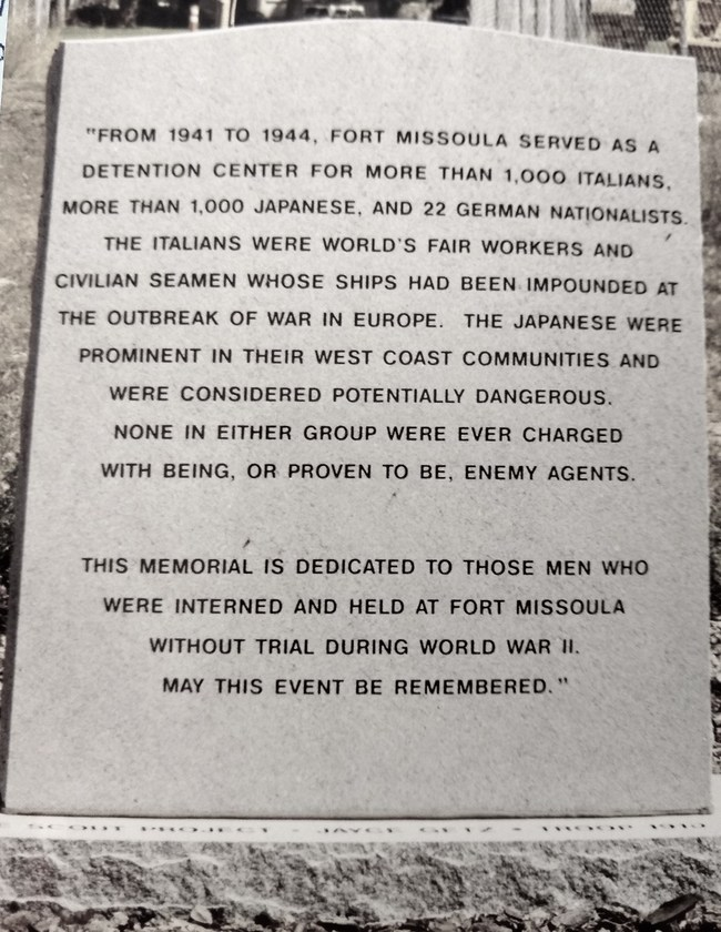 Monument at Ft. Missoula erected to honor Japanese, German and Italian incarcerees