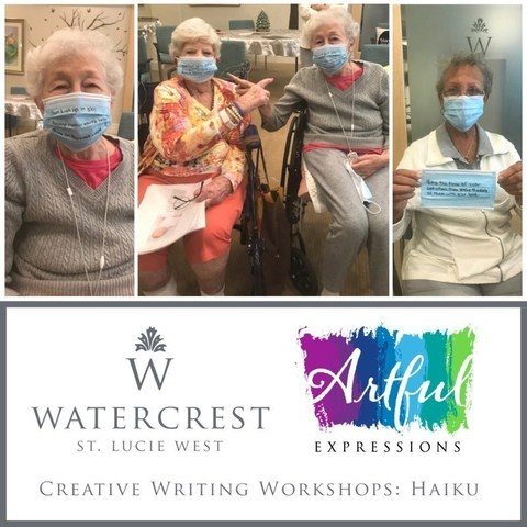 Residents of Watercrest St. Lucie West Assisted Living and Memory Care enjoy a Haiku creative writing workshop.  The Artful Expressions series is a signature program by Watercrest Senior Living designed to encourage creativity and artistic expression for seniors.