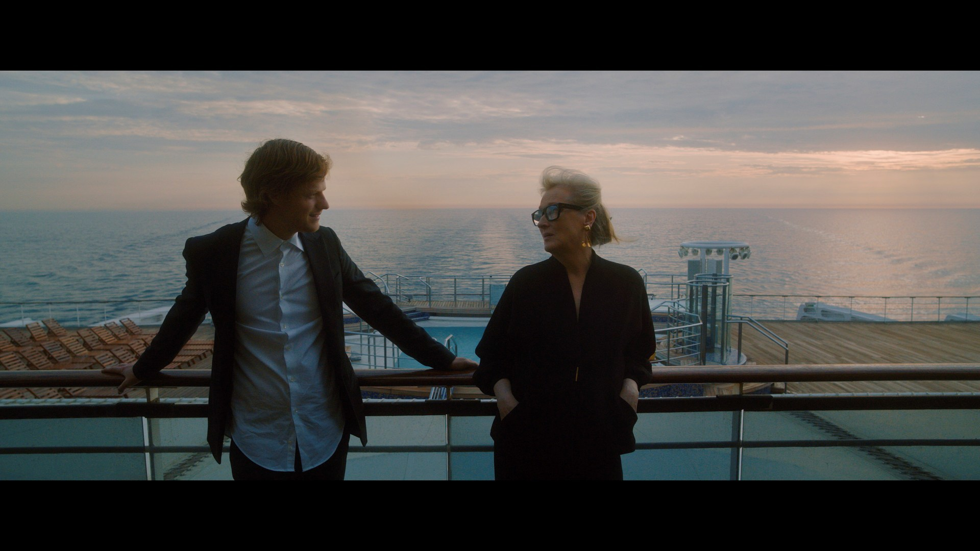 """Academy Award® winner Meryl Streep and Academy Award® nominee Lucas Hedges star in the HBO Max production, """"Let Them All Talk,"""" filmed aboard Cunard's flagship Queen Mary 2. Set on a Transatlantic Crossing, the film was helmed by award-winning director Steven Soderbergh, which begins streaming on December 10 (December 2020)"""