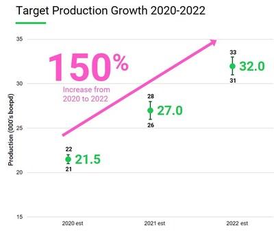Production Growth Chart 2020 (CNW Group/Crew Energy Inc.)