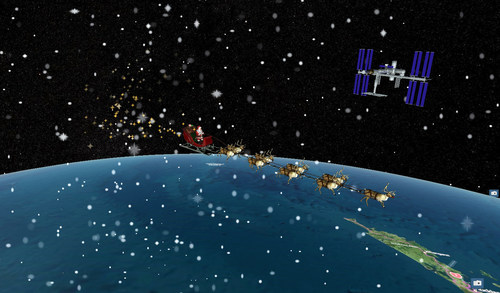 Santa's sleigh flying past the International Space Station on a precise digital twin of the Earth built by Cesium, a Philadelphia-based tech startup.