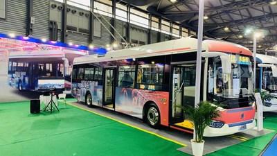 Trolebuses de 12 metros de doble fuente, Serie 9 de Sunwin. (PRNewsfoto/Shanghai Sunwin Bus Corporation)