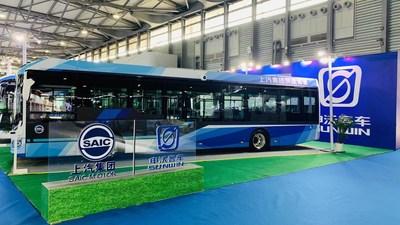 Autobús urbano inteligente totalmente eléctrico de 12 metros, Serie 9 de Sunwin. (PRNewsfoto/Shanghai Sunwin Bus Corporation)