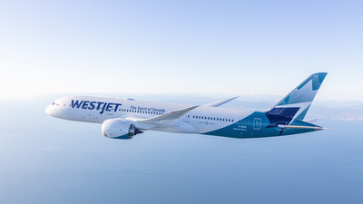 Boeing 787-9 Dreamliner de WestJet, photographié le 5 mars 2018 par Chad Slattery à bord d'un Learjet 25 de Wolfe Air. (Groupe CNW/WESTJET, an Alberta Partnership)