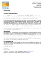 Josemaria Corporate Update (CNW Group/Josemaria Resources Inc.)