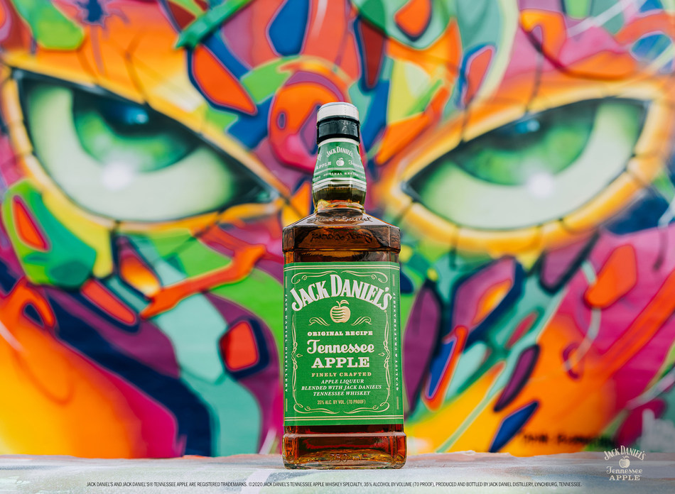 Jack Daniel's® Tennessee Apple in front of ABSTRK's mural, Miami, FL.
