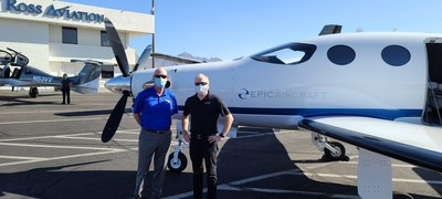Tim Taylor, SVP Business Development at ATP and Doug King CEO of Epic Aircraft with an E1000 at the US Aircraft Expo at the Scottsdale Airport.