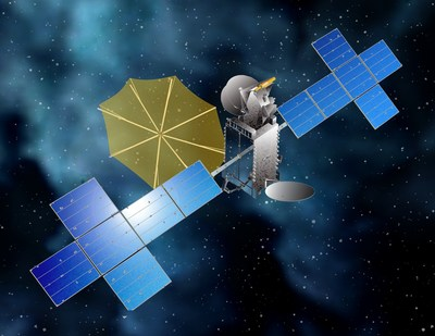This rendering shows what SiriusXM's SXM-7 will look like when fully deployed on orbit. Credit: Maxar Technologies