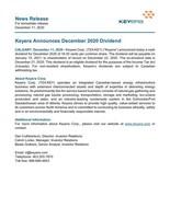 Keyera Announces December 2020 Dividend (CNW Group/Keyera Corp.)