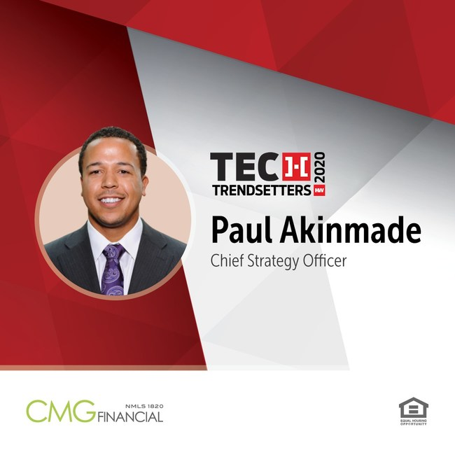 Paul Akinmade, CMG Financial, recognized as HousingWire Tech Trendsetter