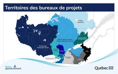 Annexe - Territoires des bureaux de projets (Groupe CNW/Cabinet de la ministre des Affaires municipales et de l'Habitation)