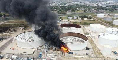 Aerial photo of the Magellan oil tank explosion in Corpus Christi, TX on December 5, 2020.