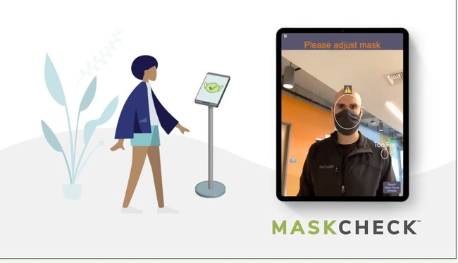"MaskCheck kiosk and app view as it screens a man for face mask compliance, and says ""Please adjust mask."""