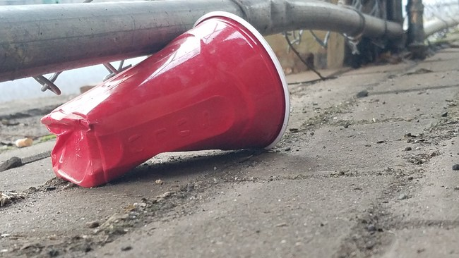 Red Solo cup on street