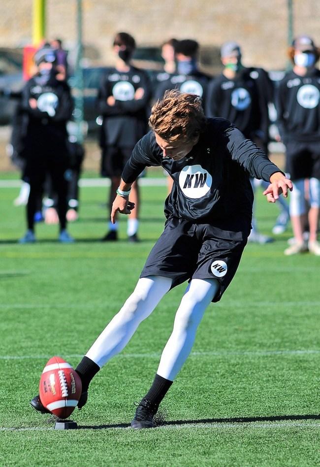 Kicking Competition winner kicks a ball at the 2020 Kicking World National Showcase in Austin, TX