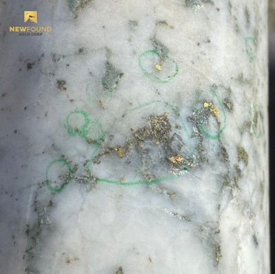 Figure 2. Example gold mineralization in Keats hole NFGC-20-28 (note this is not intended to be representative of the gold mineralization in this hole) (CNW Group/New Found Gold Corp.)