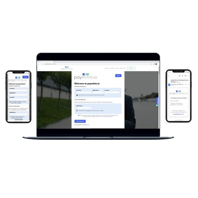 Paymints.io platform on laptop & mobile