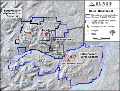 Map of the Huckleberry Mining District showing the Berg claims optioned from Centerra Gold and Surge Copper's 100% owned Ootsa property.