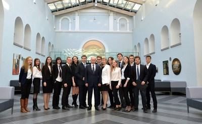 Students meet Vladimir Putin (PRNewsFoto/Graduate School of Management (St. Petersburg State University))