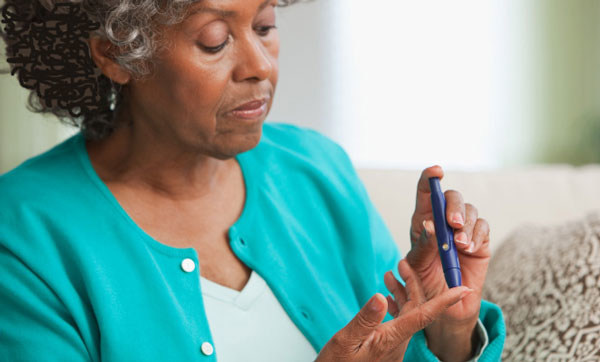 A blood sugar level test is an important self-care routine for a person with diabetes.