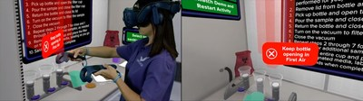 Virtuosi virtual reality interactive experience provide constant feedback and coaching to improve understanding of aseptic techniques and behaviors and increase knowledge retention.