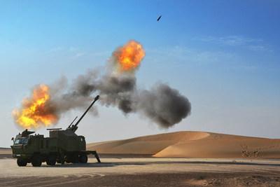 Nora B-52 155mm Howitzer System Firing Desert
