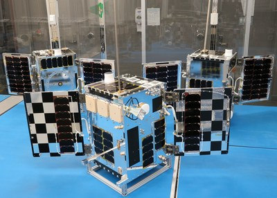 The completed next generation of HawkEye 360's commercial RF sensing satellites in the lab. Photo credit to UTIAS Space Flight Laboratory and HawkEye 360.