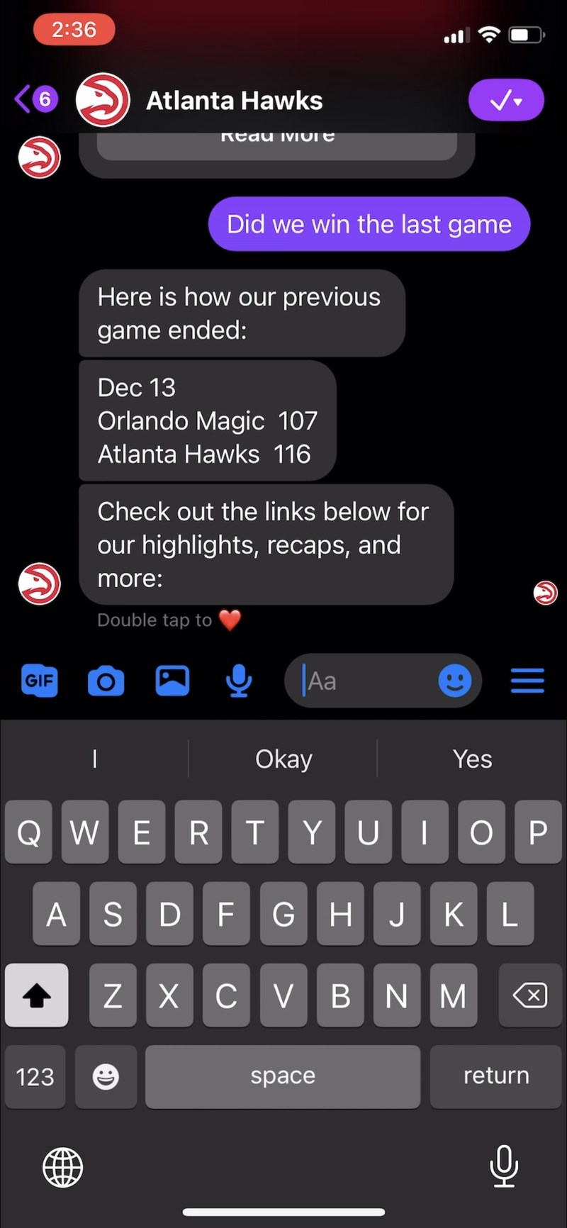 Screen capture for the Atlanta Hawks chat application powered by GameOn Technology.
