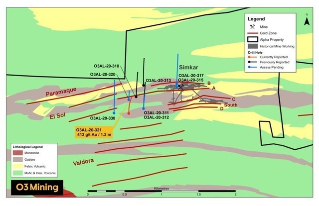 Figure 2: Localisation des forages à Simkar (Groupe CNW/O3 Mining Inc.)