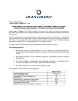 Gear Energy Ltd. Provides 2021 Budget Guidance, Update to Credit Facilities and Conclusion of Strategic Alternatives Process (CNW Group/Gear Energy Ltd.)
