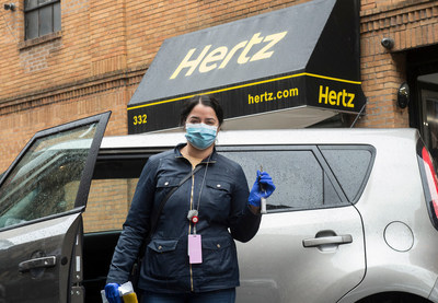 "A healthcare worker picks up their car from Hertz in New York City, Saturday, March 28, 2020. Hertz is providing free car rentals to New York City healthcare workers to help them get to and from work so they can continue providing critical care to the community during the coronavirus (COVID-19) pandemic. ""It gives all of us at Hertz a sense of purpose and pride to lend our support as much as we can during this very difficult time,"" said Kathryn Marinello, Hertz President and CEO. (Diane Bondareff/AP Images for Hertz)"