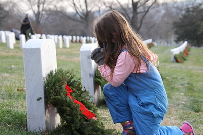 Young volunteer places veteran's wreath on National Wreaths Across America Day 2020. #RememberHonorTEACH
