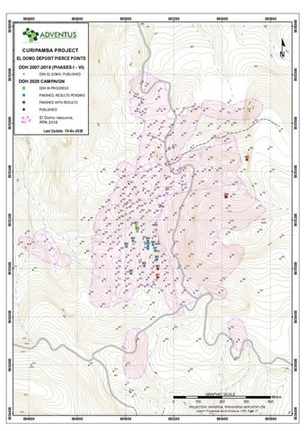 Collar Location Map for Drill Holes at El Domo as at December 21, 2020 News Release (CNW Group/Adventus Mining Corporation)
