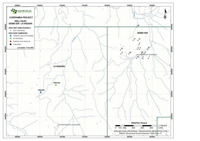 Collar Location Map for Drill Holes at La Vaquera as at December 21, 2020 News Release (CNW Group/Adventus Mining Corporation)