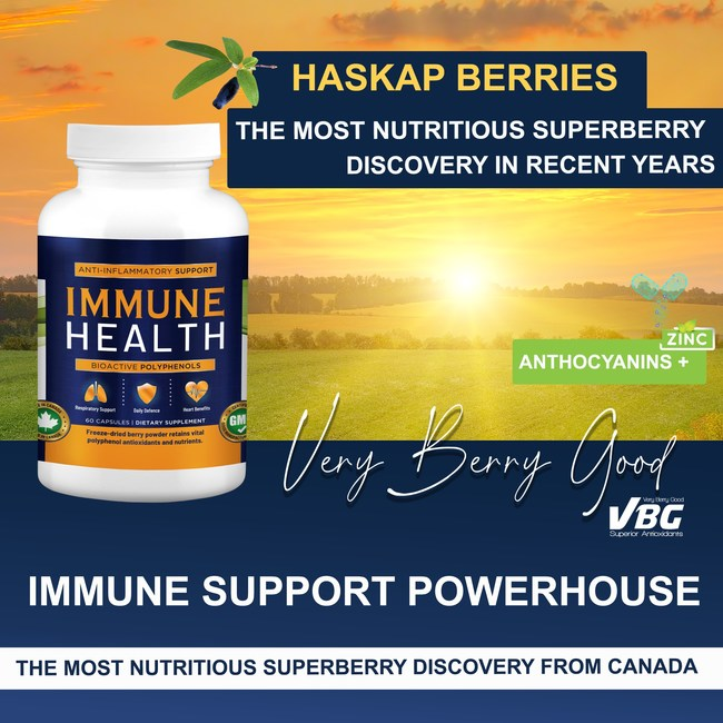 Haskap The New Super Berry - Exponentially More Antioxidants than Traditional Berries. Rich in BioActive Compounds: Polyphenols, Vitamin C Provitamins: A, B1, B2, B6, B9, P Minerals: Calcium, Magnesium, Potassium Immune Health is packed with Anthocyanins that naturally support your health. Considered by researchers to be the Super Berry of the 21st Century, Haskap Berries are the new homeopathic solution protecting your body from colds, flu and environmental stresses.