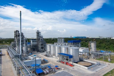 The plant built by Total Corbion PLA, a joint venture between French energy major Total and Dutch biochemical giant Corbion, in Rayong, in Thailand's Eastern Economic Corridor, is using locally-grown cane sugar to manufacture annually 75,000 tonnes of polylactic acid, or PLA, a 100 percent renewable and biodegradable bioplastic that can be used to replace polystyrene and other oil-based polymers while having a 75 percent smaller carbon footprint. (PRNewsfoto/Thailand Board of Investment (BOI))