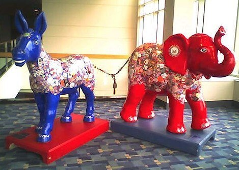 Bipartisanship: Democrats and Republicans inextricably tied together even while looking in opposite directions
