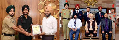 Some of Chandigarh University students who have been commissioned as officers in Indian Armed Forces along with Chancellor and Pro-Chancellor.