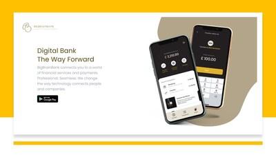 O banco digital BigBrainBank agitará o sistema financeiro de negociações de corretagem e lançará pagamentos digitais mais rápidos, mais eficientes, envios de dinheiro e serviços de empréstimos que serão facilitados por meio de parceria colaborativa sistêmica dentro de um aplicativo integrado que é seguro e ininterrupto. (PRNewsfoto/BigBrainBank)