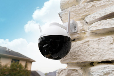 The C8C is EZVIZ's first-ever outdoor pan/tilt camera and is equipped with AI human detection.