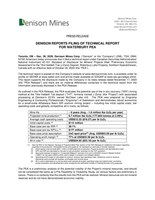 Denison Reports Filing of Technical Report for Waterbury Pea (CNW Group/Denison Mines Corp.)