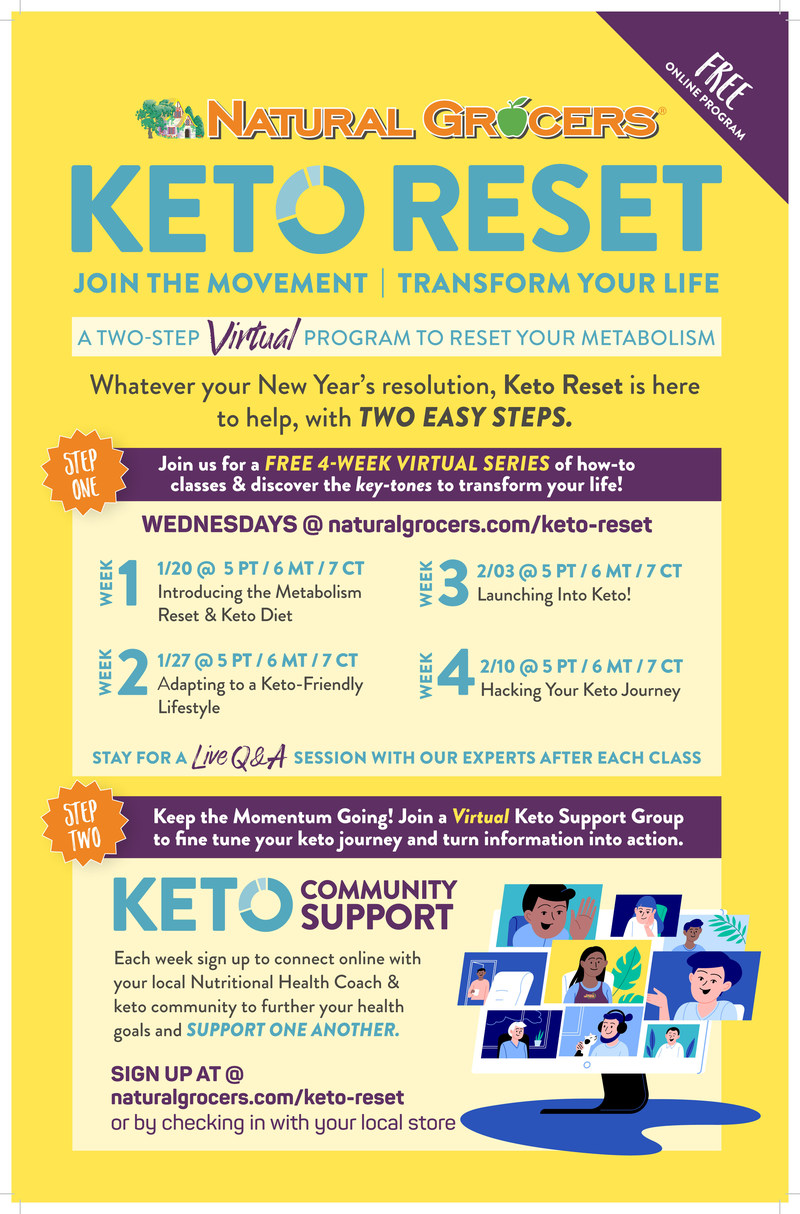 Join Natural Grocers for its free, virtual Keto Reset program, a 4-week class series designed to help participants fully experience Keto diet benefits including kick-starting their metabolism, healthy weight maintenance, enhanced mental clarity and focus, and healthy energy levels. The complementary Resolution Reset initiative provides deep in-store discounts, giveaways and more to help customers keep their New Year's resolutions.
