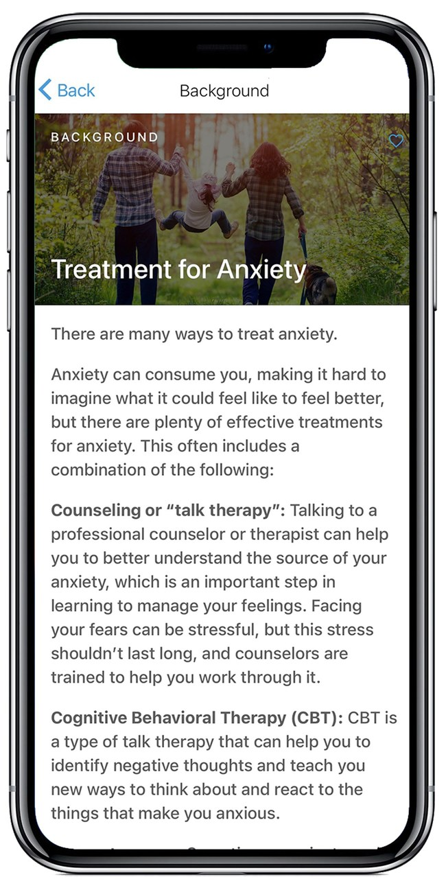 New Ocean's digital self-help solution was created to help people reduce fears and worries and make therapy more effective, efficient and portable.  Its holistic approach can be the bridge to care between clinical visits and includes daily activities and tools to assess anxiety symptoms, track medication and mental health appointments, record thoughts, and practice mindfulness and other exercises. Programs in nutrition, sleep, stress, and physical exercise support healthy lifestyles for improved mental health.