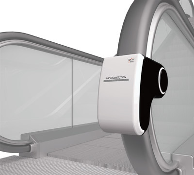 Clearwin is a self-powered, low-maintenance, preventative solution that kills bacteria using Ultraviolet Germicidal Irradiation (UVGI) and sanitizes continuously while the escalator handrail is moving. (PRNewsfoto/Clearwin)