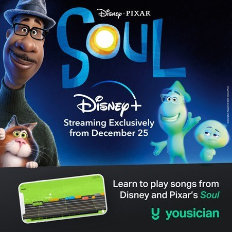 Learn to play songs from Disney and Pixar's Soul with Yousician. (PRNewsfoto/Yousician)