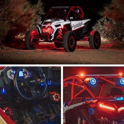 Rockford Fosgate motorsports audio kits featuring RGB LED Color™ Lighting. Kits available for 2014+ Polaris RZR® and 2017+ Can-am Maverick® X3 vehicles