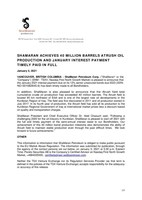 ShaMaran Achieves 40 Million Barrels Atrush Oil Production and January Interest Payment Timely Paid In Full (CNW Group/ShaMaran Petroleum Corp.)