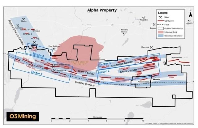 Figure 2: Propriété Alpha (Groupe CNW/O3 Mining Inc.)