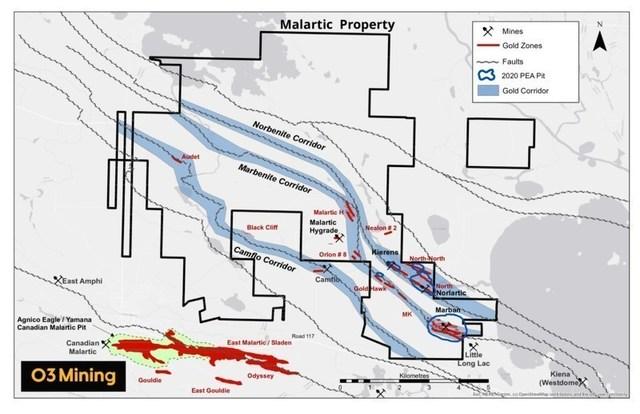 Figure 3: Propriété Malartic (Groupe CNW/O3 Mining Inc.)