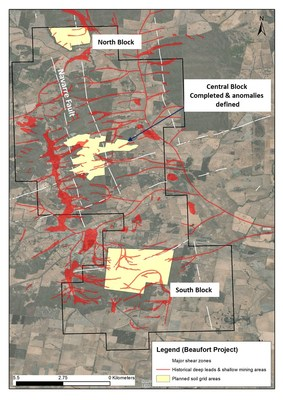 Figure 1 - location of Central block, the focus of this program, plus North & South Blocks. Notably, the 2km long anomaly which has been defined on the central block sits within a much larger mineralised trend (over 18km in strike), which has the potential to host a large gold system. (CNW Group/E79 Resources Corp.)